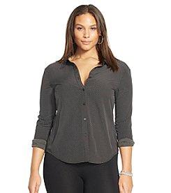 Lauren Ralph Lauren® Plus Size Polka-Dot Crepe Shirt