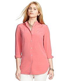 Lauren Ralph Lauren® Plus Size Bib-Front Crepe Shirt
