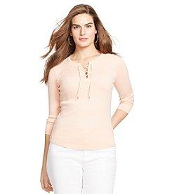 Lauren Ralph Lauren® Plus Size Cotton Lace-Up Top