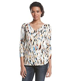 Nine West® Long Sleeve Ruched Wrap Top