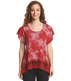 Oneworld® Short Flutter Sleeve Scoop Neck Top