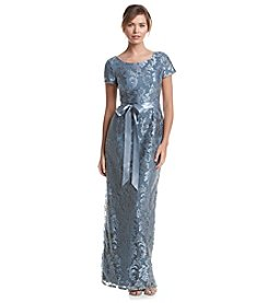 Adrianna Papell® Short Sleeve Floor Length Lace Column Gown