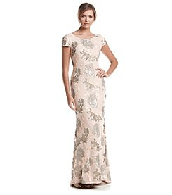 Calvin Klein Short Sleeve Floral Sequin Floor Length Gown
