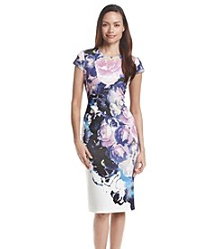 Vince Camuto&re Cap Sleeve Above Knee Floral Scuba Dress
