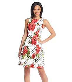 Jessica Simpson Floral Dot Sleeveless Scuba Dress