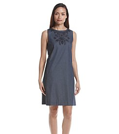 Tommy Hilfiger® Denim Embroidered Neck Shift Dress