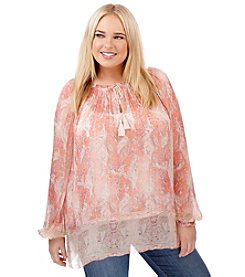 Lucky Brand® Plus Size Faded Paisley Top