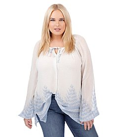 Lucky Brand® Plus Size Chevron Print Peasant Top