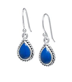 Athra Sterling Silver Manufactured Lapis Drop Earrings
