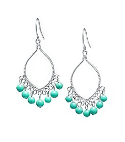 Athra Sterling Silver Manufactured Turquoise Beaded Drop Earrings