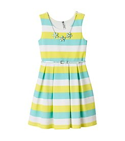 Beautees Girls' 7-16 Striped Scuba Skater Dress With Necklace