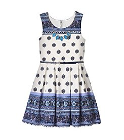 Beautees Girls' 7-16 Printed Popcorn Skater Dress