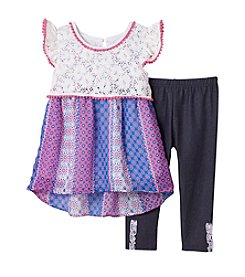 Nannette® Girls' 2T-6X Mixed Media Tunic And Leggings