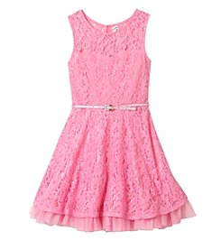 Beautees Girls' 7-16 Sparkle Lace Illusion Dress