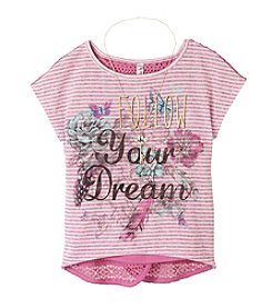 Beautees Girls' 7-16 Follow Your Dream Printed Lace Back Top