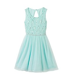 Speechless® Girls' 7-16 Sparkle Lace Dress With Gem Waist