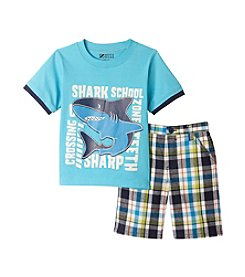 Nannette® Boys' 2T-7 2-Piece Shark Printed Tee And Plaid Shorts Set