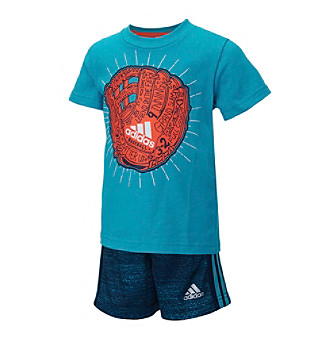 adidas® Baby Boys Baseball Glove Printed Tee And Shorts