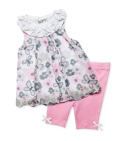 Baby Essentials® Baby Girls' 2-Piece Butterfly Printed Top And Leggings Set