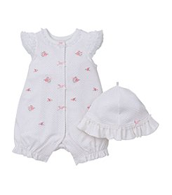 Little Me® Baby Girls' Blooms Applique Romper And Hat Set