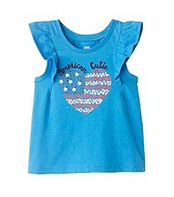 Mix & Match Baby Girls' American Heart Printed Flutter Sleeve Tank