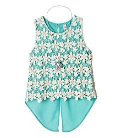 Beautees Girls' 7-16 Floral Crochet Tank