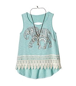 Beautees Girls' 7-16 Elephant Tank With Crochet Trim