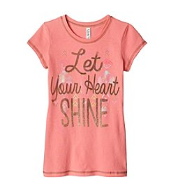 Beautees Girls' 7-16 Let Your Heart Shine Short Sleeve Tee