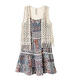 Beautees Girls' 7-16 Boho Print Dress With Fringe Vest