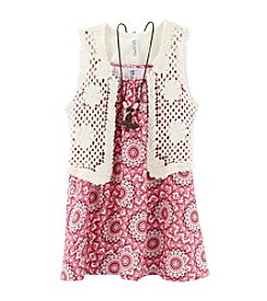 Beautees Girls' 7-16 Crochet Vest And Printed Top