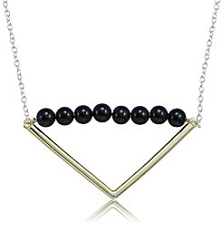 Designs by FMC Sterling Silver & Onyx Beaded Triangle Necklace