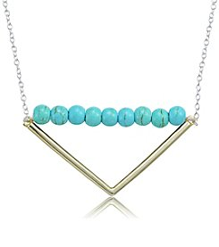 Designs by FMC Sterling Silver & Howlite Chrysocolla Beaded Triangle Necklace