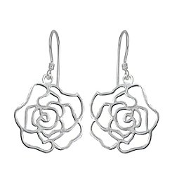 Designs by FMC Sterling Silver Rose Cut-Out Drop Earrings