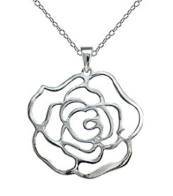 Designs by FMC Sterling Silver Rose Cut-Out Pendant Necklace