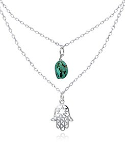 Designs by FMC Sterling Silver Double Necklace with Genuine Turquoise Stone and Hamsa Pendant