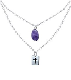 Designs by FMC Sterling Silver Double Necklace with Amethyst Stone and Stamped Cross Pendant