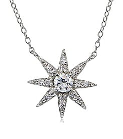 Designs by FMC Sterling Silver & Cubic Zirconia Starburst Pendant Necklace