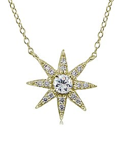 Designs by FMC 18K Gold Plate over Sterling Silver & Cubic Zirconia Starburst Pendant Necklace
