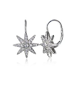 Designs by FMC Sterling Silver & Cubic Zirconia Starburst Leverback Drop Earrings