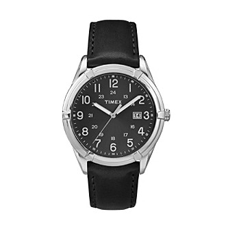 Timex® Men's Black Leather Easton Avenue Watch