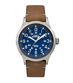 Timex® Men's Blue Dial Brown Leather Expedition Scout Watch