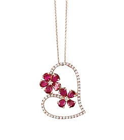 Effy® .27 Ctw Diamond And Ruby Heart Pendant In 14K Rose Gold