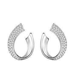 Swarovski® Silvertone Exist Small Pierced Earrings