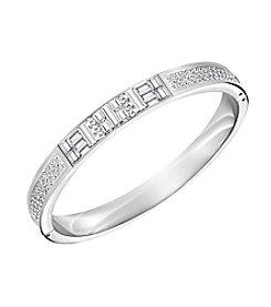 Swarovski® Silvertone Ethic Narrow Bangle Bracelet