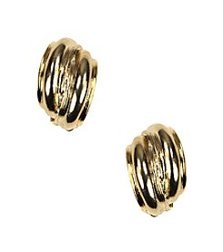 Anne Klein® Goldtone Button Clip Earrings