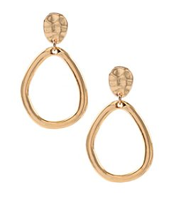 Anne Klein® Goldtone Clip Pave Drop Hoop Earrings