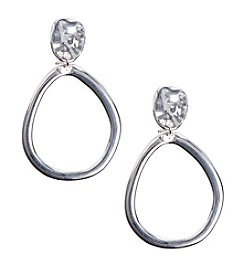 Anne Klein® Silvertone Clip Drop Hoop Earrings