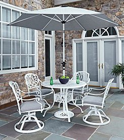 Home Styles ® Floral Blossom White 5-pc. Swivel Chair Dining Set with Umbrella