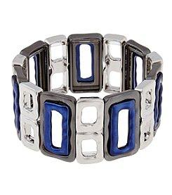 Erica Lyons® Silvertone Indigo Blue Trifecta Stretch Bracelet