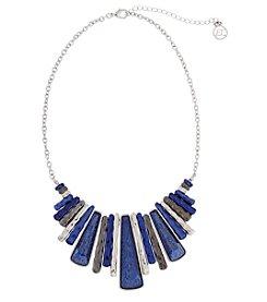 Erica Lyons&Reg; Silvertone Indigo Blue Trifecta Rectangles Fringe Front Necklace